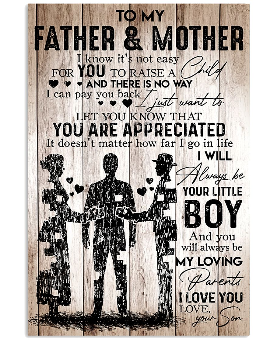 Father Mother Boy Son Wood Poster 11x17 Poster