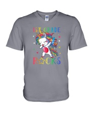 Unicorn 1st Grade Rocks V-Neck T-Shirt thumbnail