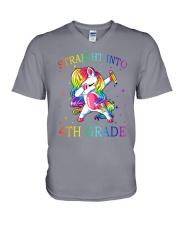 Unicorn Straight Into 4th Grade V-Neck T-Shirt thumbnail