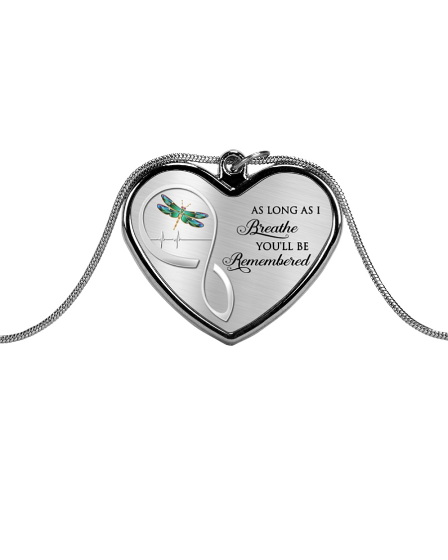 As Long As I Breathe You'll Be Remembered Dragonfl Metallic Heart Necklace