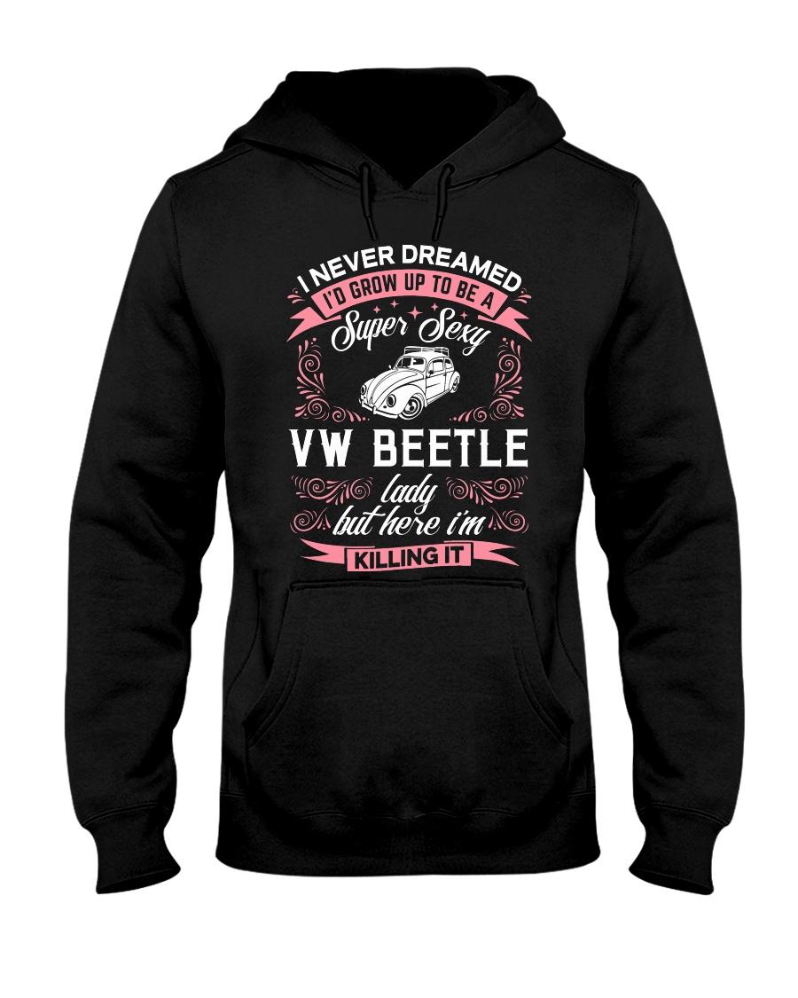 Super Sexy  VW Beetle Lady Hooded Sweatshirt