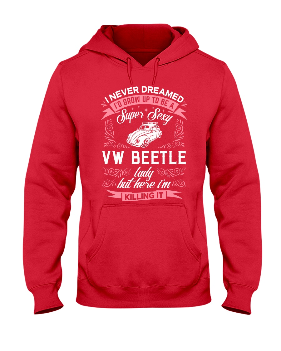Super Sexy  VW Beetle Lady Hooded Sweatshirt