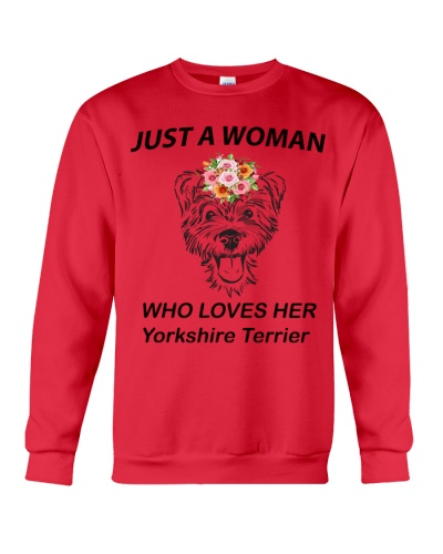 JUST A WOMAN WHO LOVES HER YORKSHIRE TERRIER