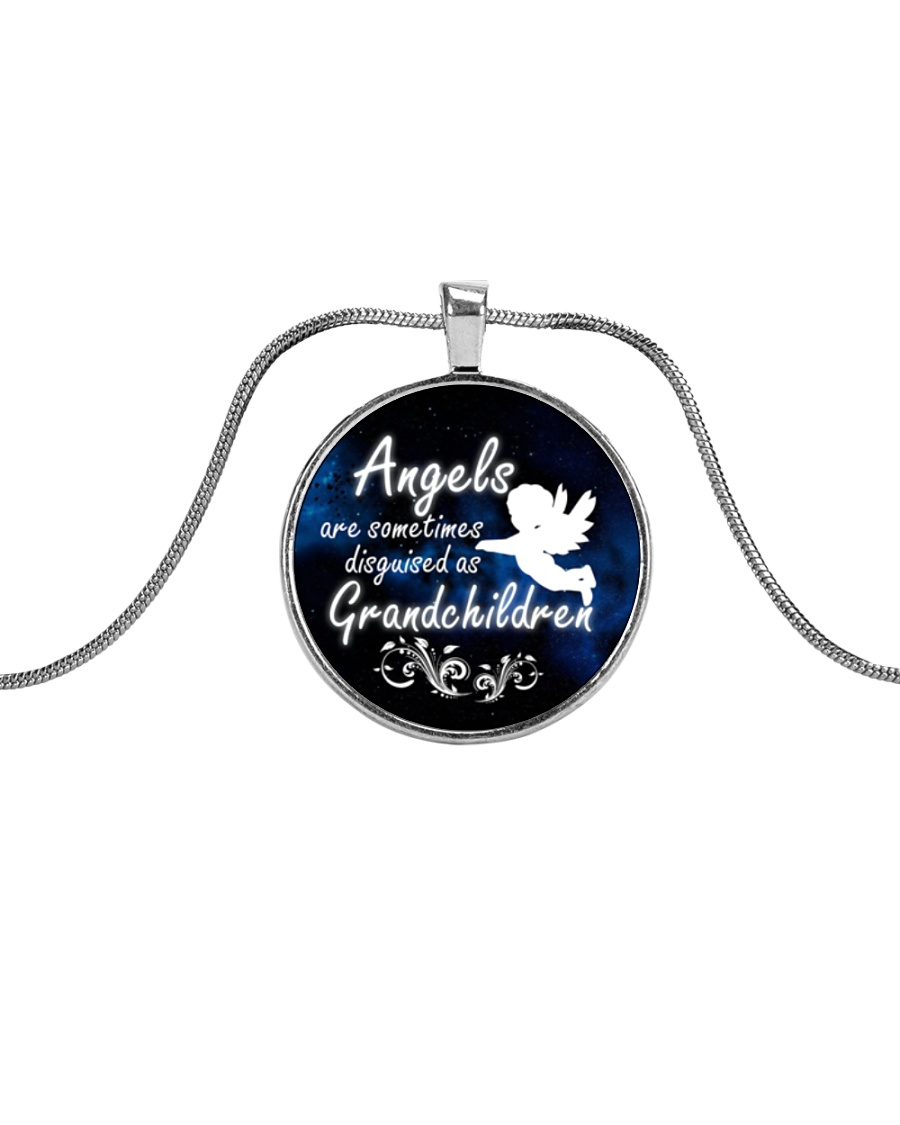 Angels are Disguised As Grandchildren Necklaces  Metallic Circle Necklace