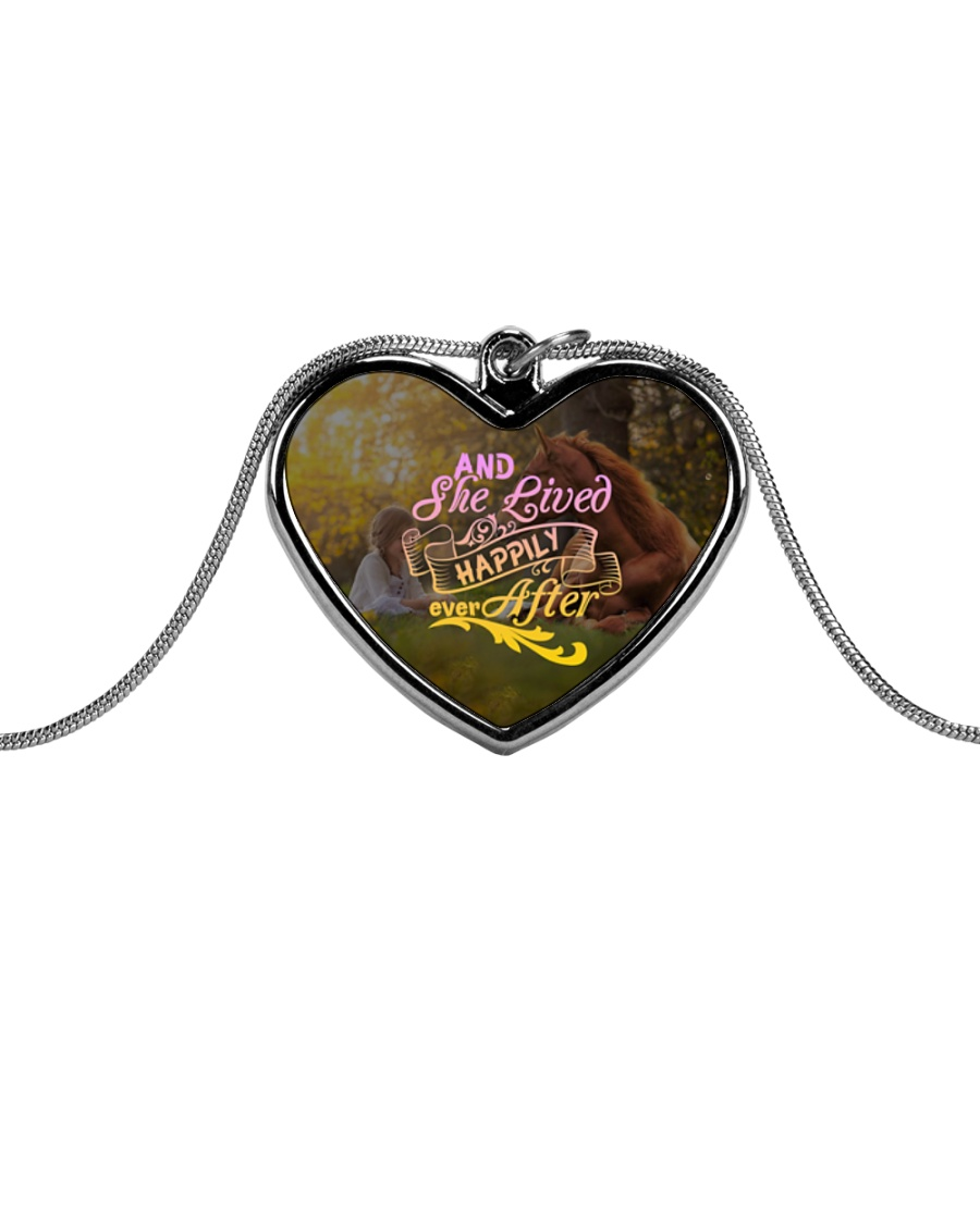 Horse - And She Lived Happily Ever After Metallic Heart Necklace