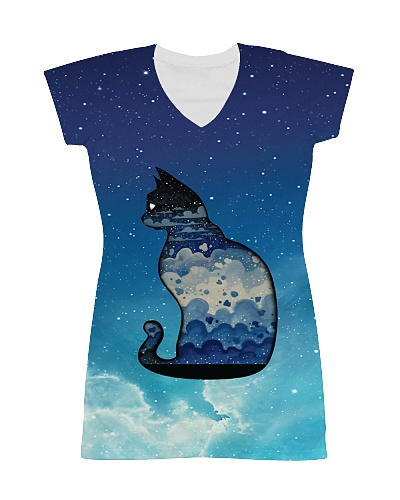 Cat - Adorable Cat In Star Blue Sky