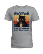 Cat Coffee T-shirt  Ladies T-Shirt thumbnail