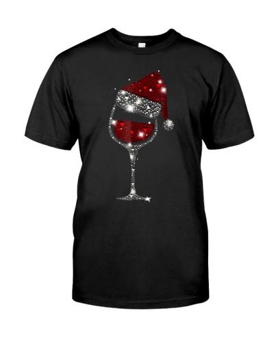 Christmas Wine Shirt Glass Of Red Wine Santa Hat T