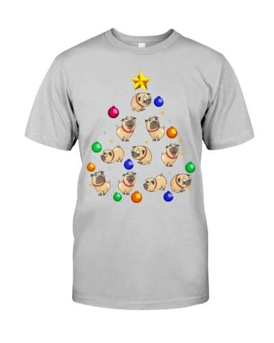 Pug Dog Christmas Tree T Shirt Ornament Decor Gift