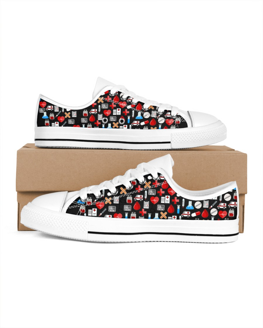 gifts for the nurses Women's Low Top White Shoes