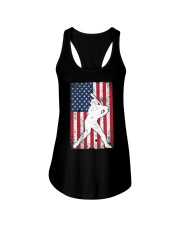 USA American Flag Baseball 4th of July Patriotic Ladies Flowy Tank tile