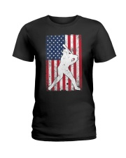 USA American Flag Baseball 4th of July Patriotic Ladies T-Shirt tile