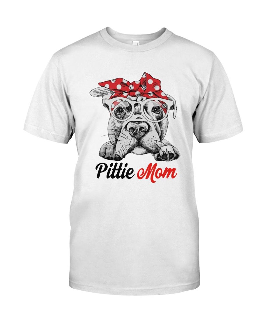 554d9d08032 Pittie mom leopard bandana Classic T-Shirt