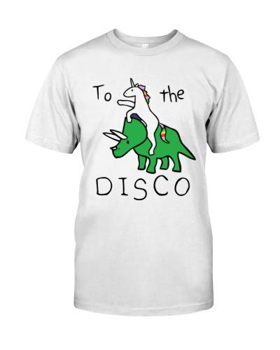 To the disco Unicorn riding Triceratops