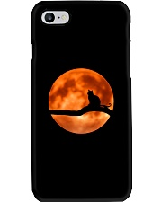 Cat in love with moon at night Phone Case thumbnail