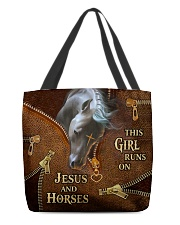This girl runs on Js and Horses All-over Tote front