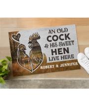 """Personalized Farm Old Cock Sweet Hen Doormat Doormat 22.5"""" x 15""""  aos-doormat-22-5x15-lifestyle-front-11"""