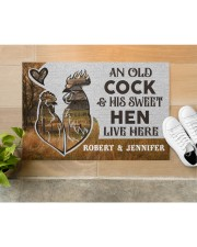 """Personalized Farm Old Cock Sweet Hen Doormat Doormat 22.5"""" x 15""""  aos-doormat-22-5x15-lifestyle-front-12"""