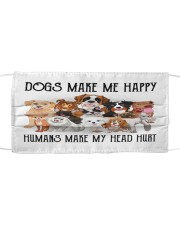 Dogs make me happy 2 Cloth face mask thumbnail