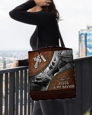 Jesus is my Savior All-over Tote aos-all-over-tote-lifestyle-front-05