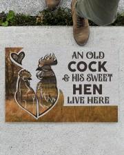 """Personalized Farm Old Cock Sweet Hen Doormat Doormat 22.5"""" x 15""""  aos-doormat-22-5x15-lifestyle-front-01"""