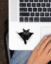 Black cat Crack Sticker - Single (Horizontal) aos-sticker-single-horizontal-lifestyle-front-11