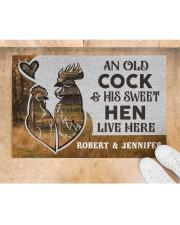 """Personalized Farm Old Cock Sweet Hen Doormat Doormat 22.5"""" x 15""""  aos-doormat-22-5x15-lifestyle-front-05"""