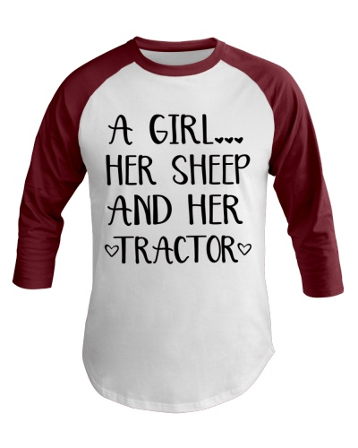 A GIRL HER SHEEP AND HER TRACTOR