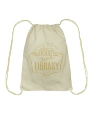 When In Doubt Go To The Library Drawstring Bag thumbnail