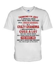 Thinking I'm A Spoiled Grandson Of Crazy Grandma V-Neck T-Shirt thumbnail