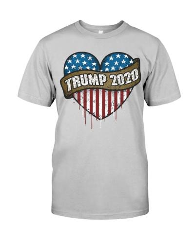 Trump 2020 Heart Shaped American Flag
