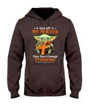 Get off my nerves Multiple Sclerosis Awareness Hooded Sweatshirt thumbnail