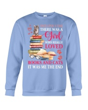 A girl who really love books and cat Crewneck Sweatshirt thumbnail