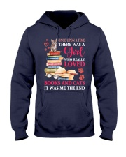 A girl who really love books and cat Hooded Sweatshirt thumbnail