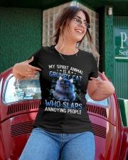 My spirit animal is a grumpy cat Ladies T-Shirt apparel-ladies-t-shirt-lifestyle-01
