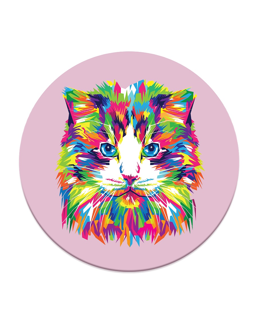 RAWR Trippy Watercolor Style Cat Design Circle Coaster
