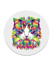 RAWR Trippy Watercolor Style Cat Design Circle Coaster thumbnail