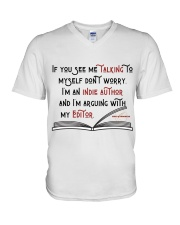 Talking To My Editor V-Neck T-Shirt tile