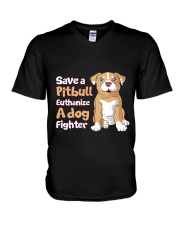 Save A Pit Bull Euthanize A Dog Fighter Rescue Dog V-Neck T-Shirt tile