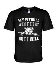 My Pitbull Won't Fight But I Will V-Neck T-Shirt thumbnail