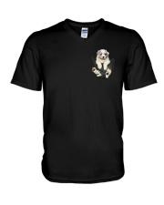 Australian Shepherd In Pocket V-Neck T-Shirt thumbnail