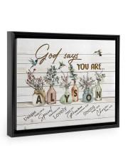 God says you are - Alyson Floating Framed Canvas Prints Black tile