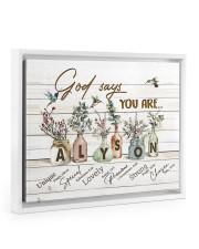 God says you are - Alyson Floating Framed Canvas Prints White tile