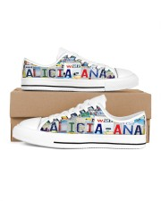 ALICIA ANA LICENSE PLATE LOW TOP SHOES LT203 Women's Low Top White Shoes inside-left-outside-left