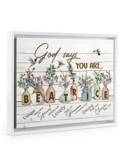 God says you are - Beatrice Floating Framed Canvas Prints White tile