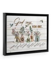 God says you are - Agnes Floating Framed Canvas Prints Black tile