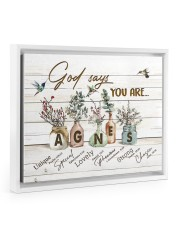 God says you are - Agnes Floating Framed Canvas Prints White tile