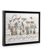 God says you are - Allyson Floating Framed Canvas Prints Black tile