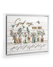 God says you are - Allyson Floating Framed Canvas Prints White tile