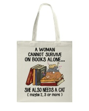BOOK LOVERS GIFT CUTE CAT MOM FLOWER FUNNY Tote Bag thumbnail